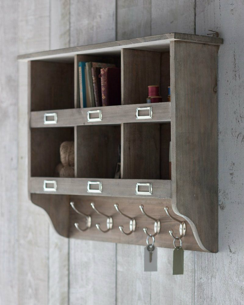 Vintage Rustic Wooden Wall Storage Unit With Hooks Unique