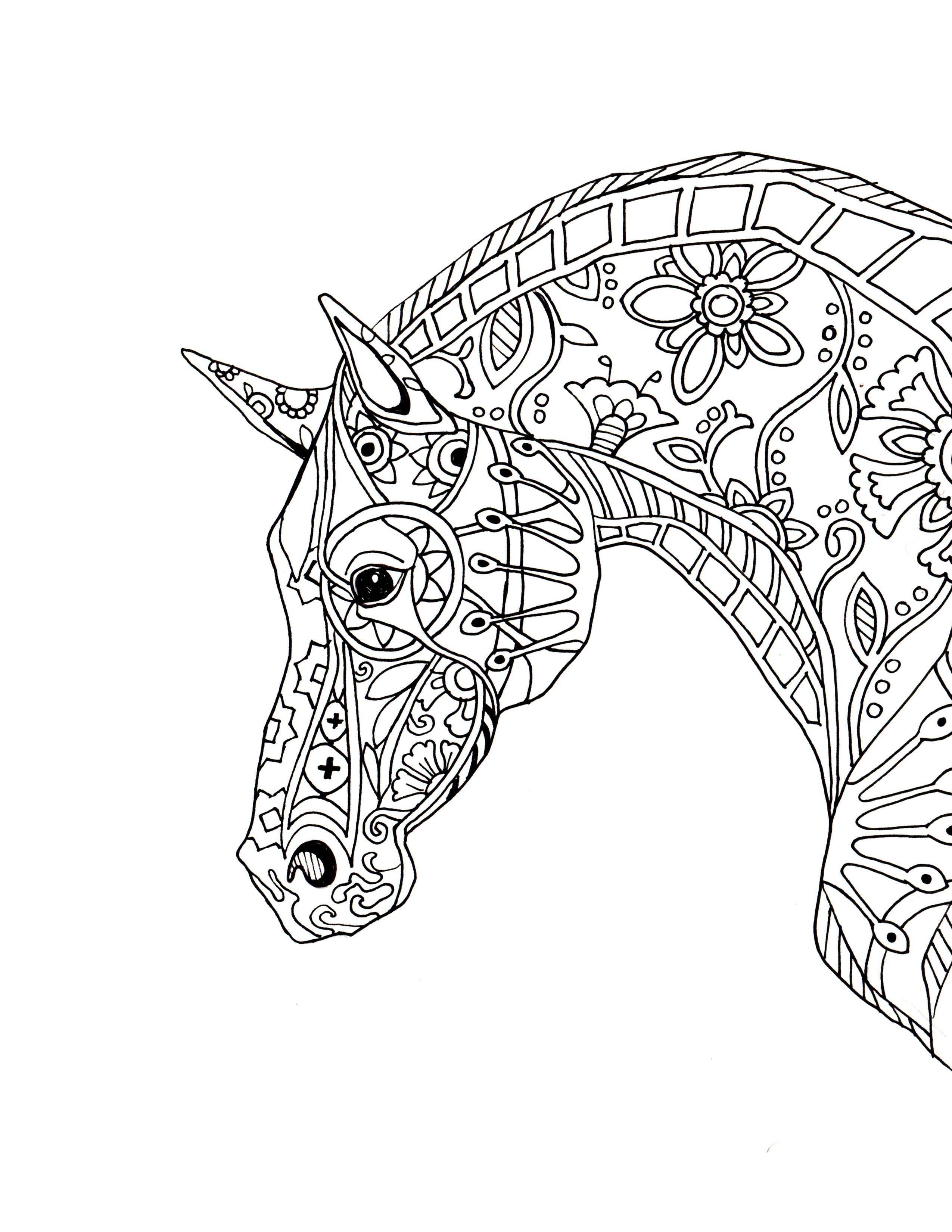 decorative-horse-profile-for-print.jpg (JPEG Image, 2550 × 3300 ...