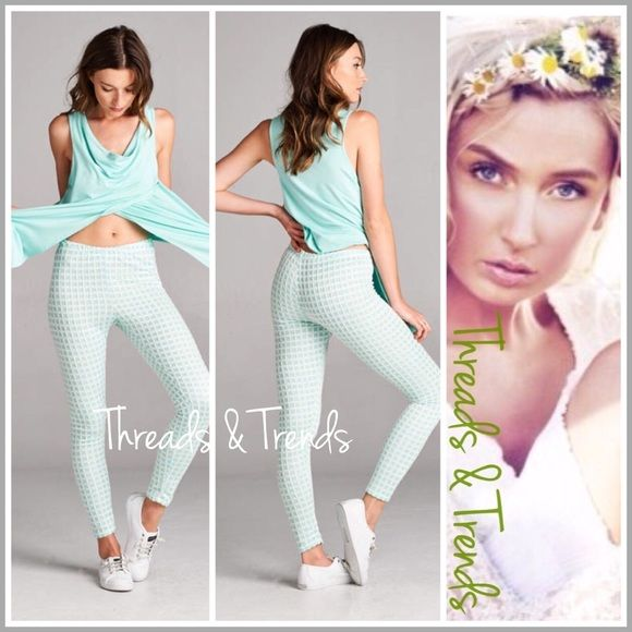 """Mint Gingham Leggings Gingham leggings and sleeveless tunics...super cute for spring & summer. Leggings made of poly/spandex inseam 28.5"""" Sleeveless tops made of rayon/spandex. Each sold separately for $28. Bundle a set for $50. Pants Leggings"""