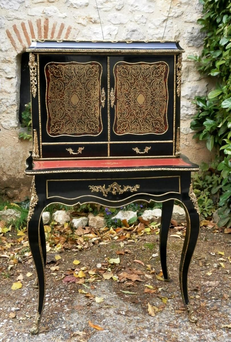 Bureau Bonheur Du Jour En Marqueterie Boulle Napoleon Iii Antiquites Christian Ganneval Proantic Marqueterie Napoleon Iii Antiquaire