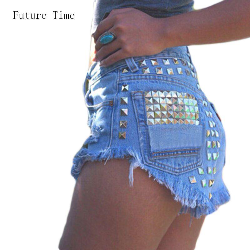 Barato 2016 Do Vintage Da Moda Borla das Mulheres Ripped Solto Short Jeans  de Cintura Alta 9aa1baa7754fd