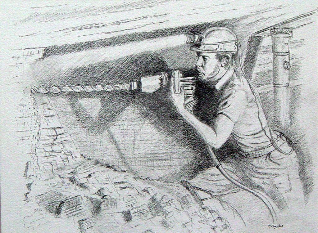 Картинки шахтера карандашом
