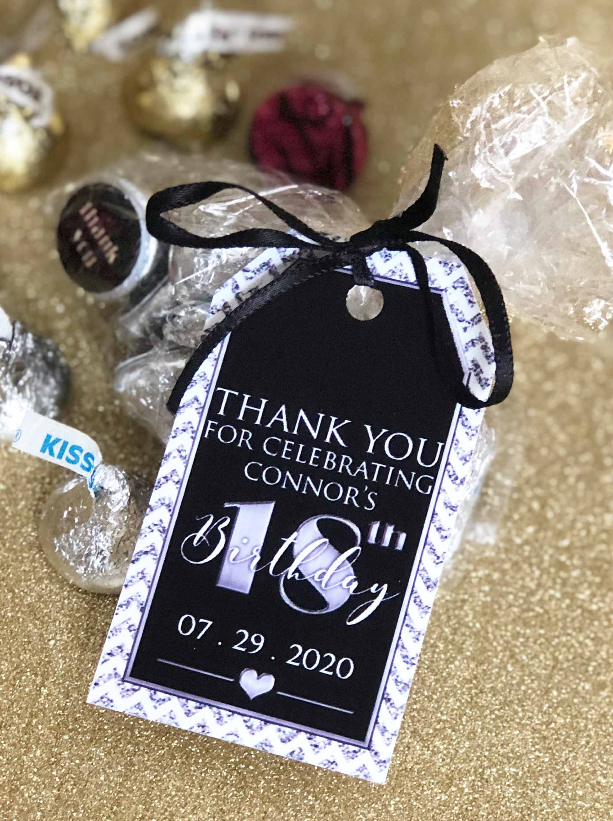 Silver Printable Tags 75th Birthday Personalized Tags 18th Etsy In 2021 Party Favor Tags Mini Wine Bottle Favors Birthday Thank You