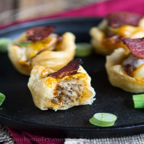 BBQ Burger Bites, Serves: 24 bites, Directions: 1. Preheat oven to 350° F. Spray 24 mini muffin cups with non stick cooking spray. Separate dough into 4 rectangles; pinch perforations to seal. Cut each rectangle into 6 squares. Press each square in bottom and up side of mini muffin cup. Bake 6 minutes. Remove from oven. Using handle of wooden spoon, immediately make 1 1/2 –inch indentation in center of each cup.  2. Meanwhile sauté the onions in 1 tsp of oil until tender, then combine the…
