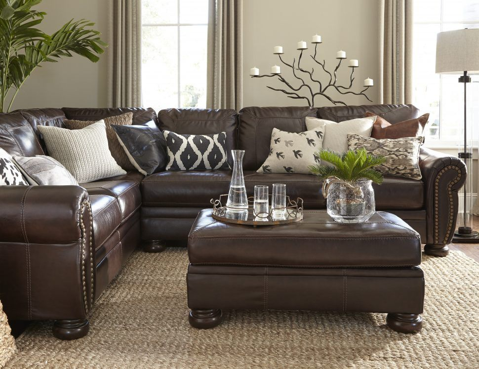 Image Result For Farm House Living Room Brown Leather Couch