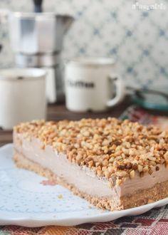 Tarta de queso y chocolate con nueces caramelizadas {sin horno}