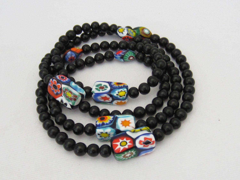 Best Vintage Jewelry Black Onyx Millefiori Venetian Glass 400 x 300