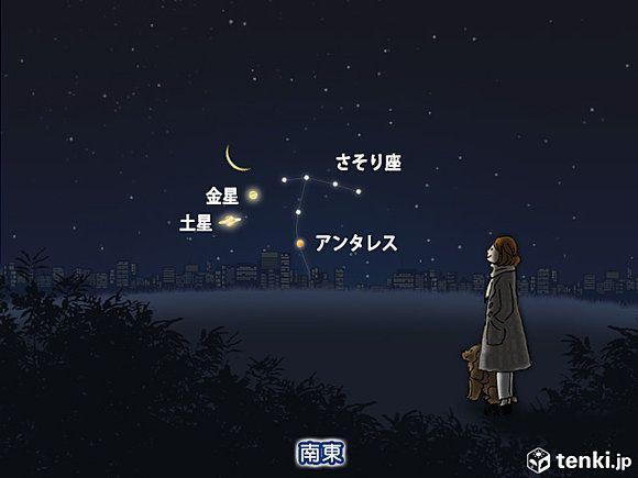 あす日の出前 月が金星と土星に接近(日直予報士) - 日本気象協会 tenki.jp