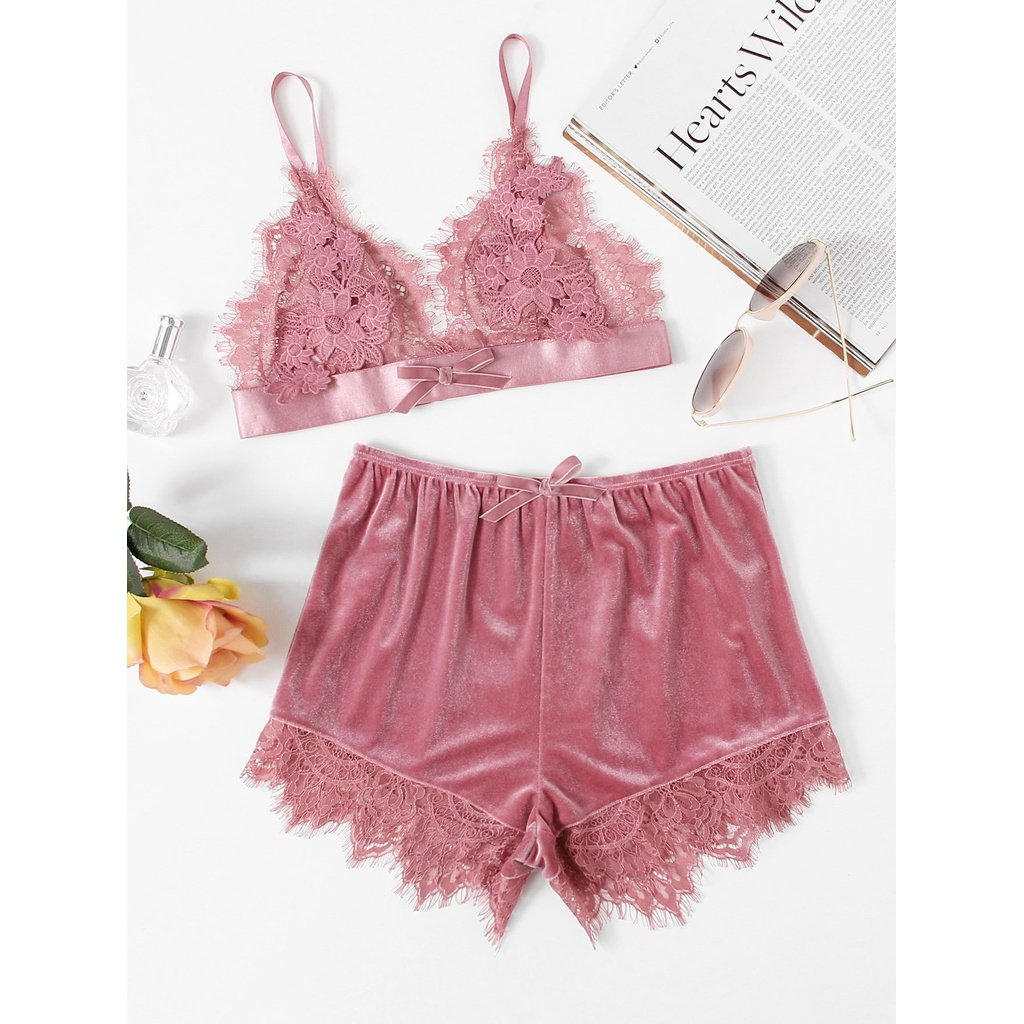 Applique Detail Lace Bralette   Velvet Shorts Set   Anabella s ... 38beed71367