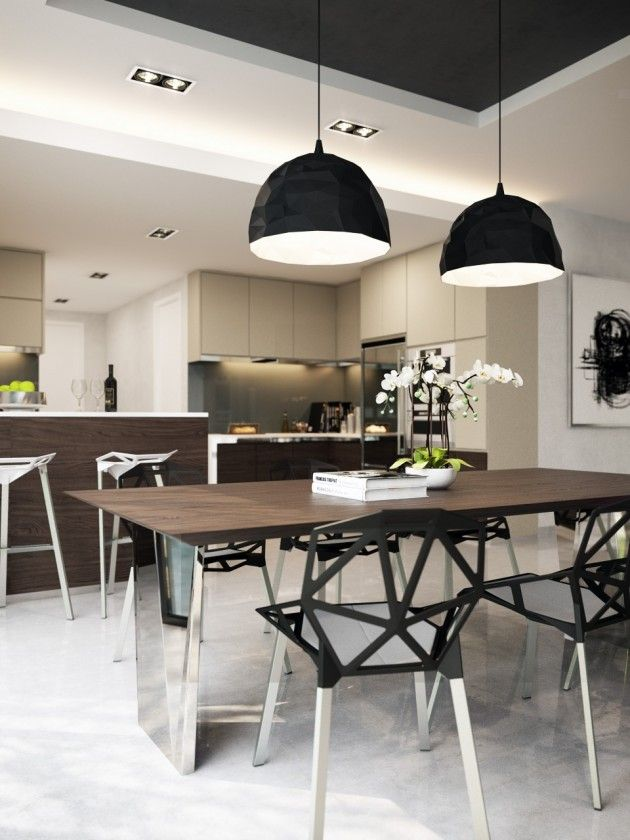 Black Round Pendant Lights Above Wooden Dining Table Set And Black Dining  Chairs With Alumunium Legs