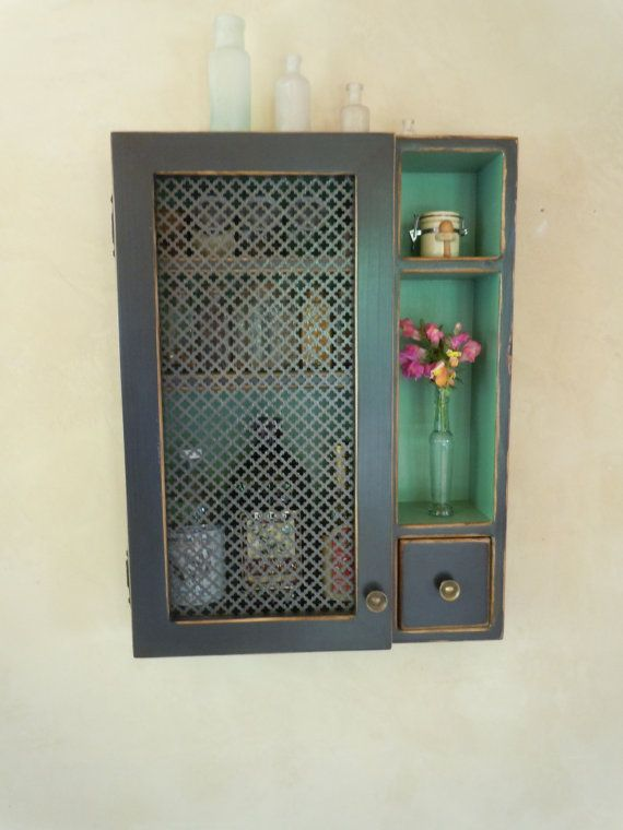 Cabinet  Rustic Wall Cabinet With Ornate Sheet Metal Door