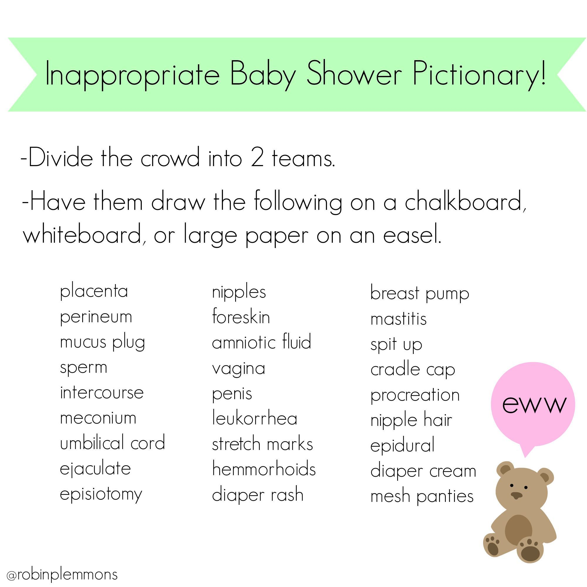 Inappropriate Baby Shower Pictionary! Because All Those