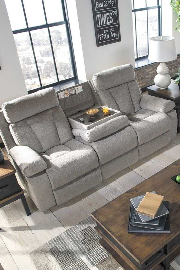 Fabulous Mitchiner Grey Reclining Sofa With Drop Down Table Game Bralicious Painted Fabric Chair Ideas Braliciousco