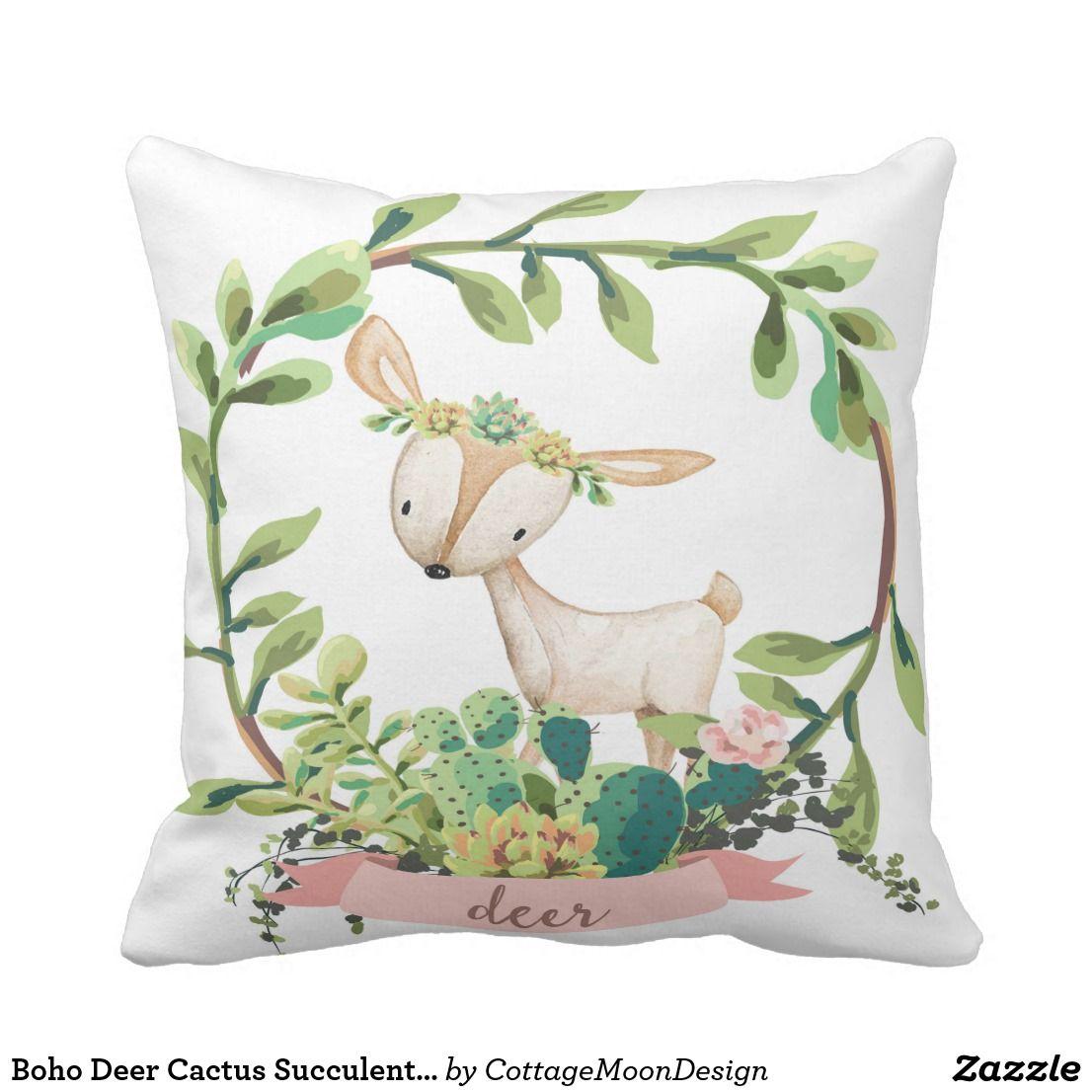 Boho deer cactus succulent baby nursery pillow future nursery