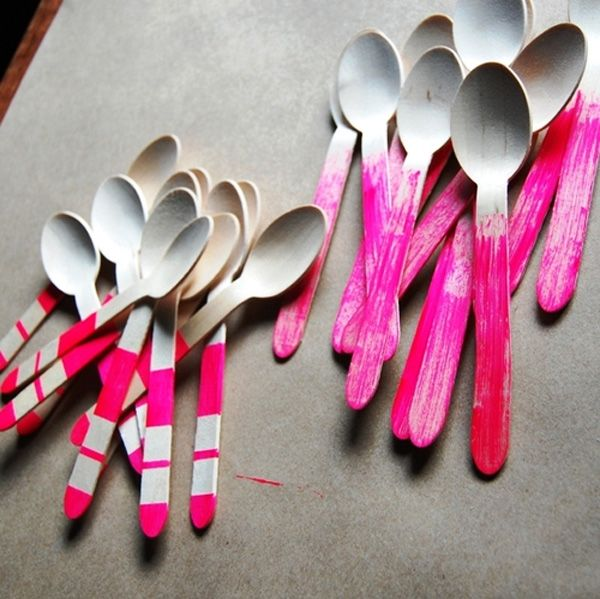 Wooden spoons with a pop of neon pink