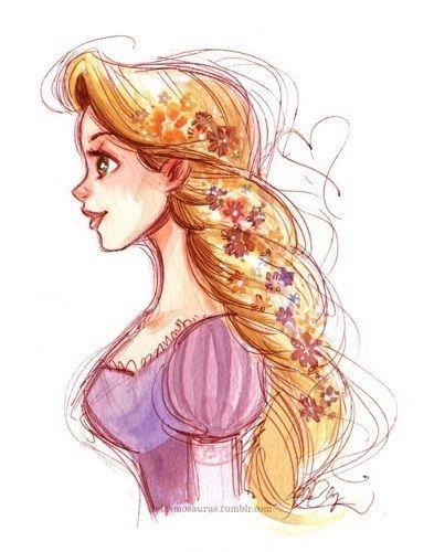 Tangled 3 I Love Her Braided Hair With Flowers In It Disney Princess Drawings Disney Drawings Disney Tangled