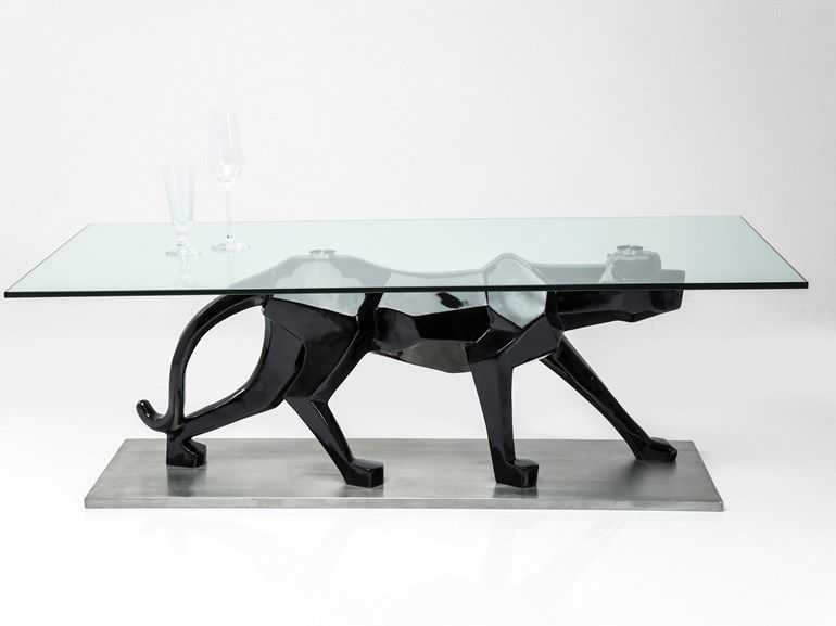 Cat Coffee Table rectangular glass table coffee table black catkare-design