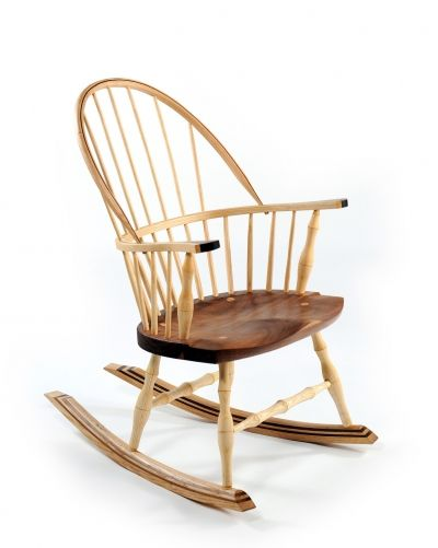 Rocking Chair.Classic Rocker With Contemporary Twist. Hand Carved And  Turned High Back Rocking Chair With Spindle Design And Inlay.