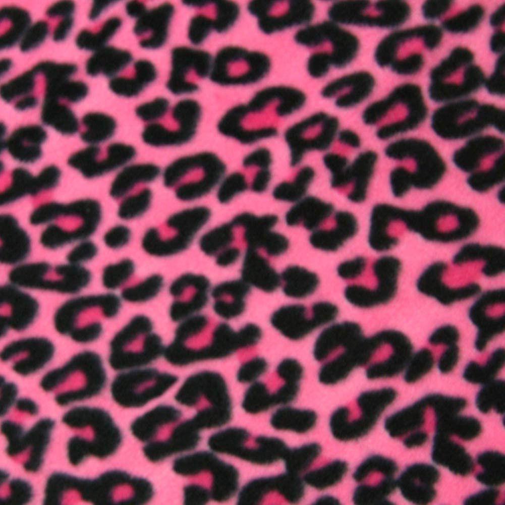 Leopard Pink Fleece Fabric by the Yard