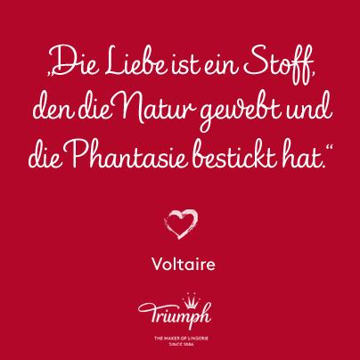 """""""Die Liebe ist ein Stoff, den die Natur gewebt und die Phantasie bestickt hat."""" Voltaire"""