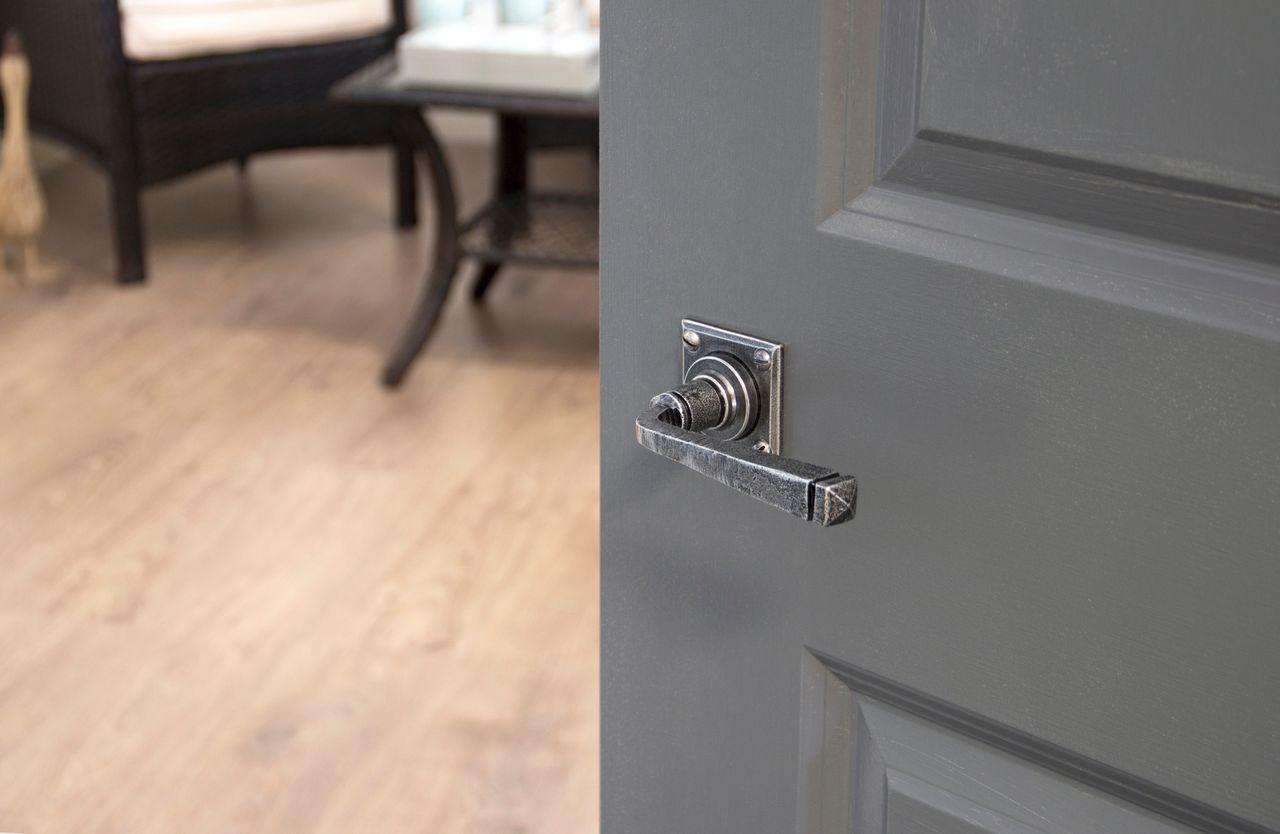 Avon door handles on a square backplate. Shown here on an attractive grey door. & Avon door handles on a square backplate. Shown here on an attractive ...
