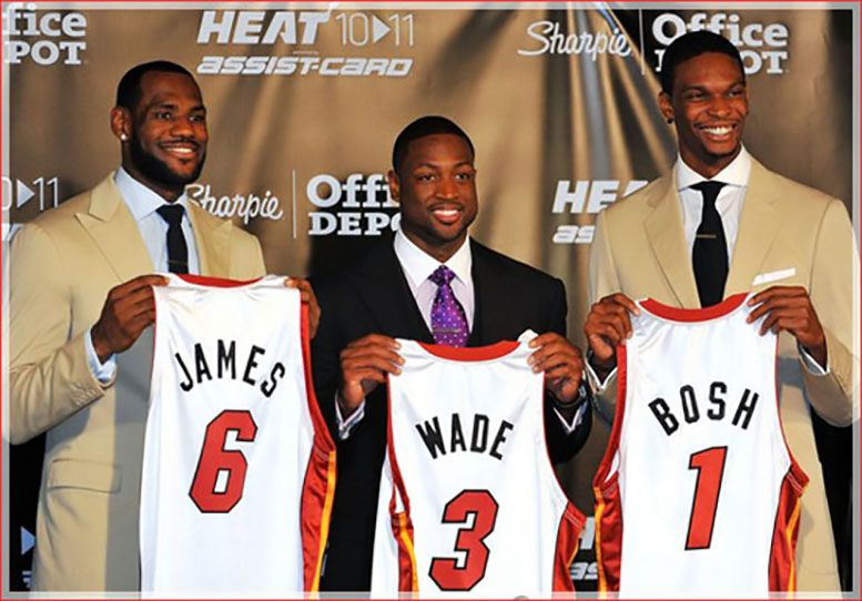 Chris bosh looks to rejoin dwayne wade lebron james in future lebron james dwyane wade and chris bosh of the miami heat show off their new game jerseys before a press conference after a welcome party at american voltagebd Image collections