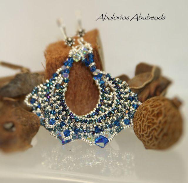 Delicas bronce matte, cristales swarovski  seed beads de 24 kt gold 11/0 y 15/0