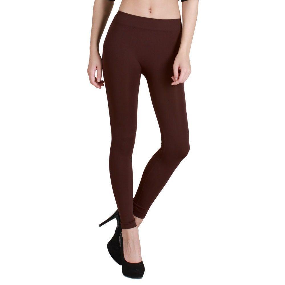 317199f51e074d Nikibiki Women's Plain Jersey Ankle Length Leggings (Dark Brown ...