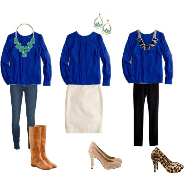blue blouse- not a fan of the shoes