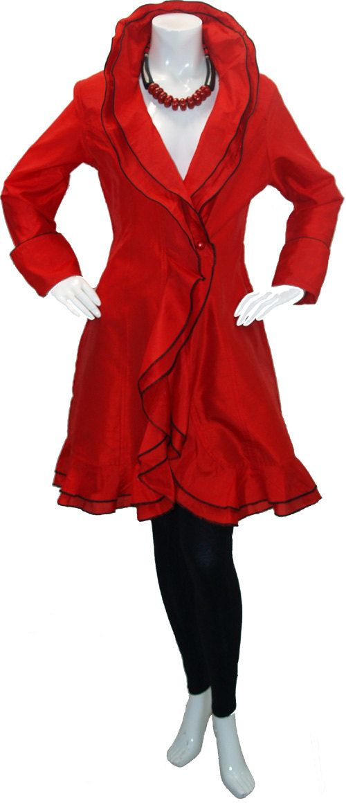 Red Jacket.Fabulous and New Style  Raw Silk  by Dare2bStylish, $69.00        FABULOUS PARTY FROCK