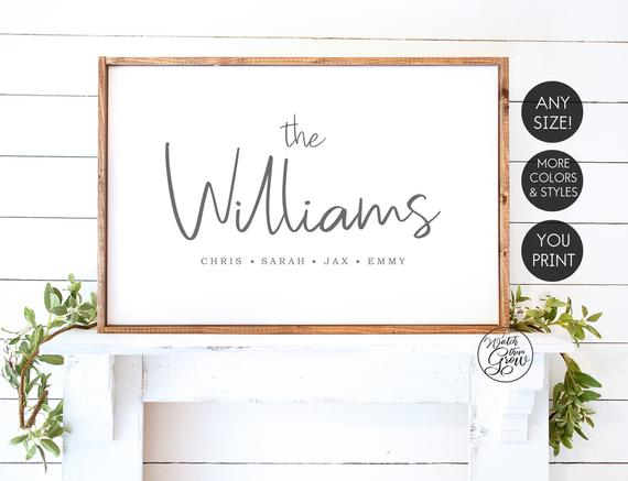Personalized Printable Family Name Sign Family Name Print Etsy In 2021 Family Name Signs Name Signs Name Wall Art