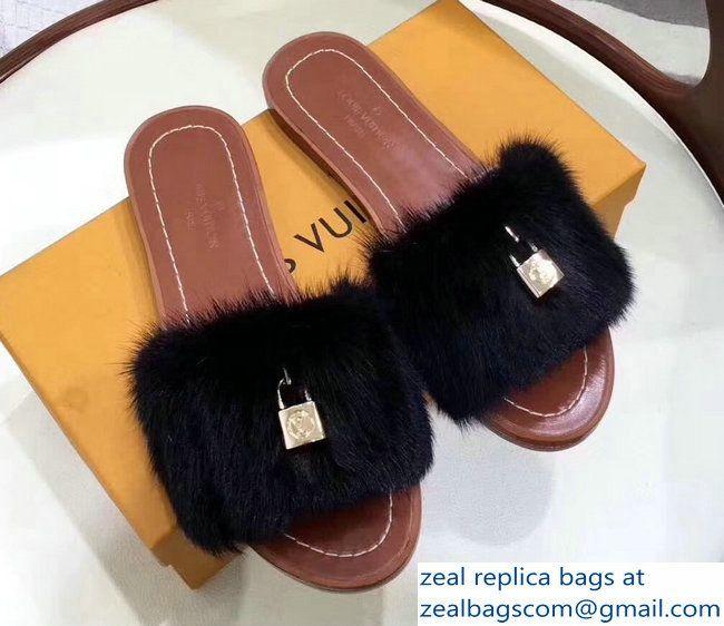 919fb8abdc4a Louis Vuitton Mink Fur Lock It Slipper Sandals Mules Black 2017 ...