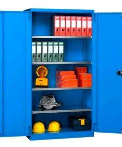 Armadio con piani 1023x555x2000 blu RAL 5012 con ante ...