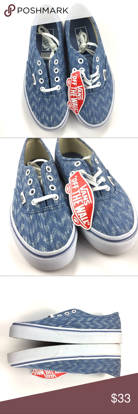 1cddc45722 Vans Authentic Denim Chevron Blue True White 5.5 Vans Authentic Denim  Chevron Blue and True White Low Top Lace Up Size 4 Mens 5.5 Womens  Condition is new in ...