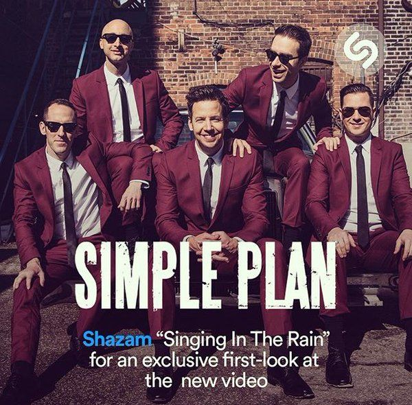 """Use @Shazam for one of our tracks right now to access a sneak peak of our video """"Singing In The Rain""""! Simple Plan, April 2016"""