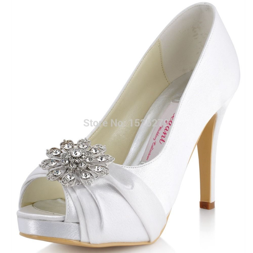 2d210ef15 EP41058-PF White Blue Silver Women Bride Wedding Party Pumps Platforms  Sandals Peep Toe High Heel Rhinestones Satin Bridal Shoes