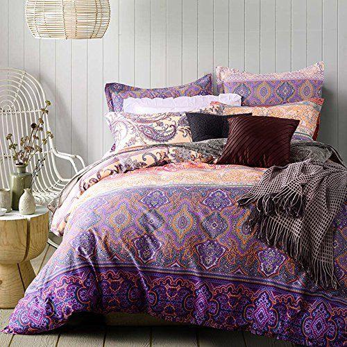 TheFit Paisley Bedding R59 Purple Style Boho Bedding Queen Sets 4pcs ,  Cotton Duvet Cover Set