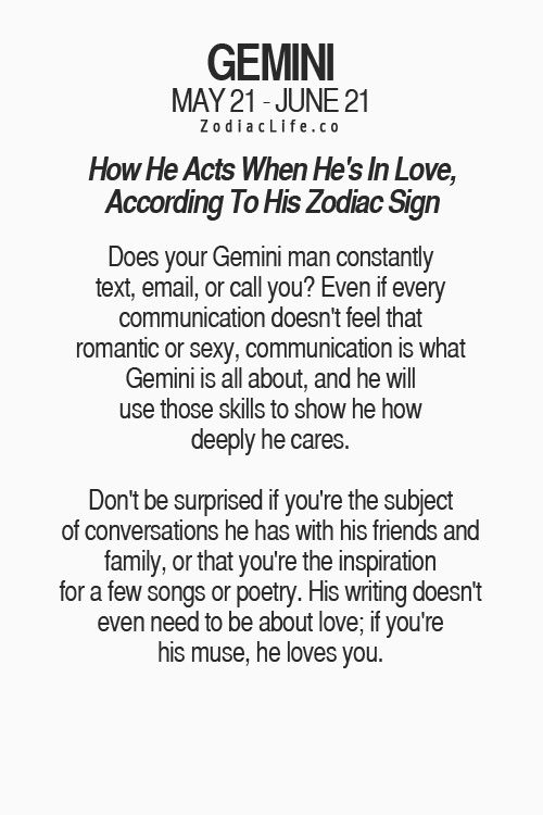 How does gemini man acts when in love