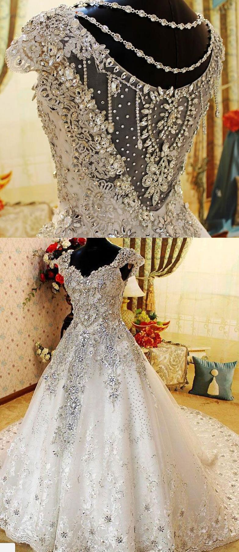 Luxurious chapel train wedding dresses with rhinestone for bridal in