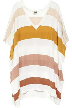 Striped silk-crepe and jersey T-shirt