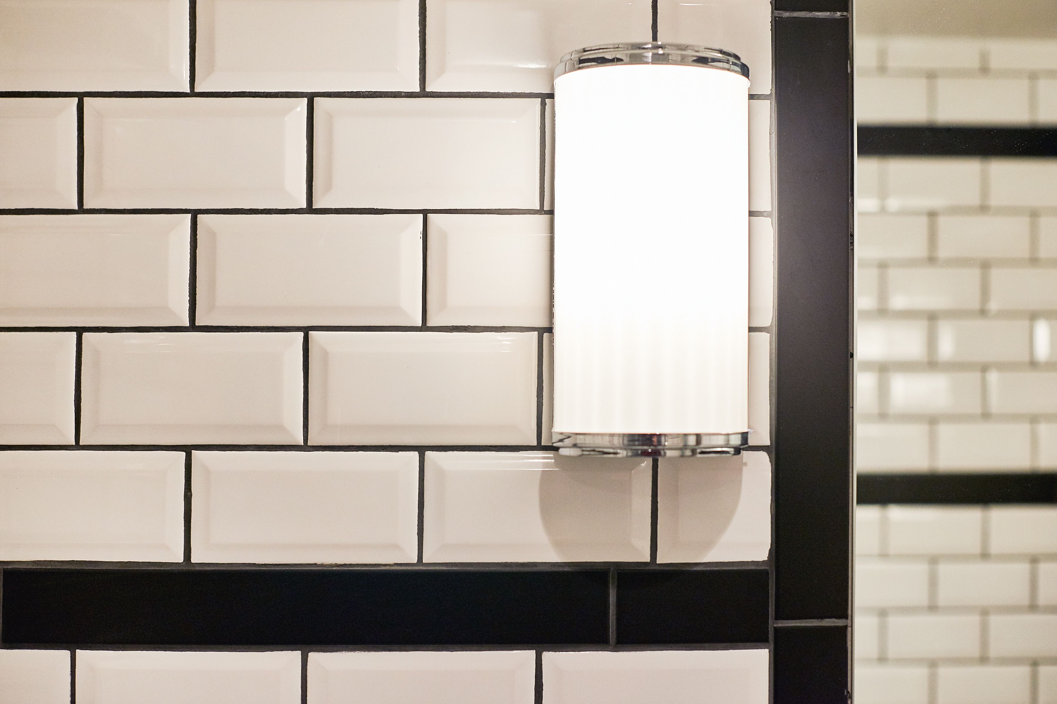 Monochrome Black And White Metro Tiles With Vertical Line Borders