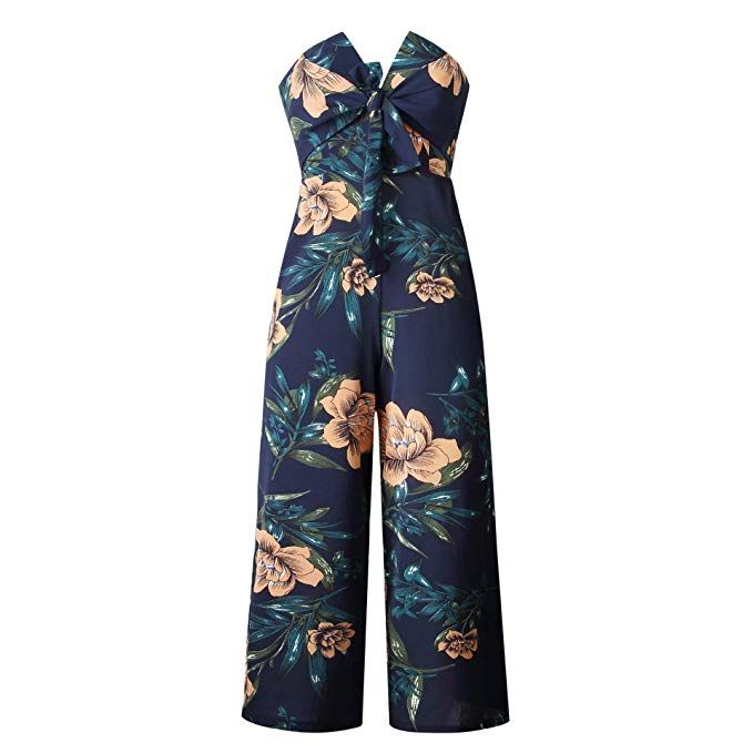 7ca1e00188 Amazon.com: Asskdan Women's Off Shoulder Strapless Backless Tie Front  Floral Print Wide Leg Pants Jumpsuit Romper (Navy Blue, Small): Clothing