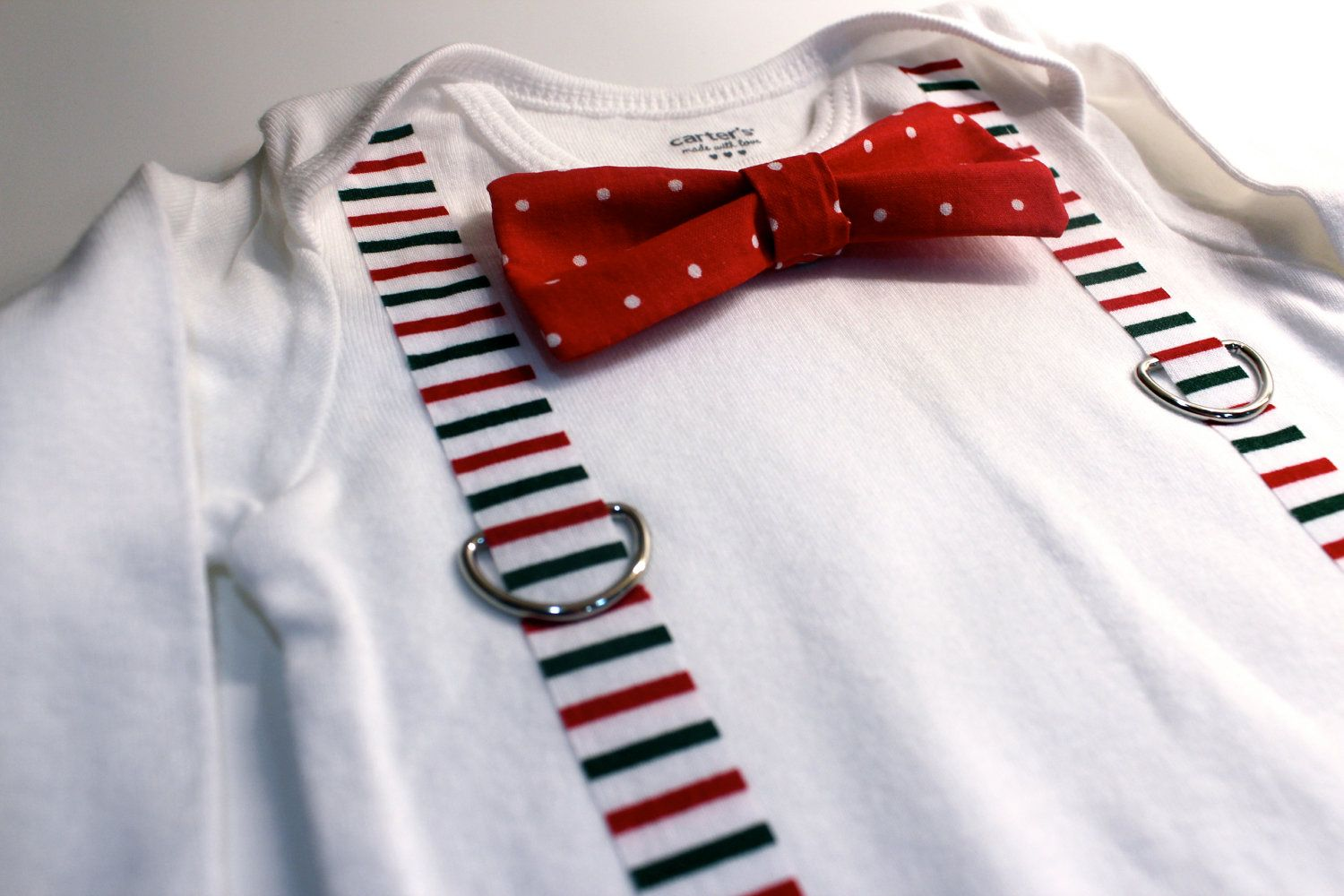 Baby Boy Christmas Outfit Snapon Bowtie Onesie by CuddleSleepDream ...