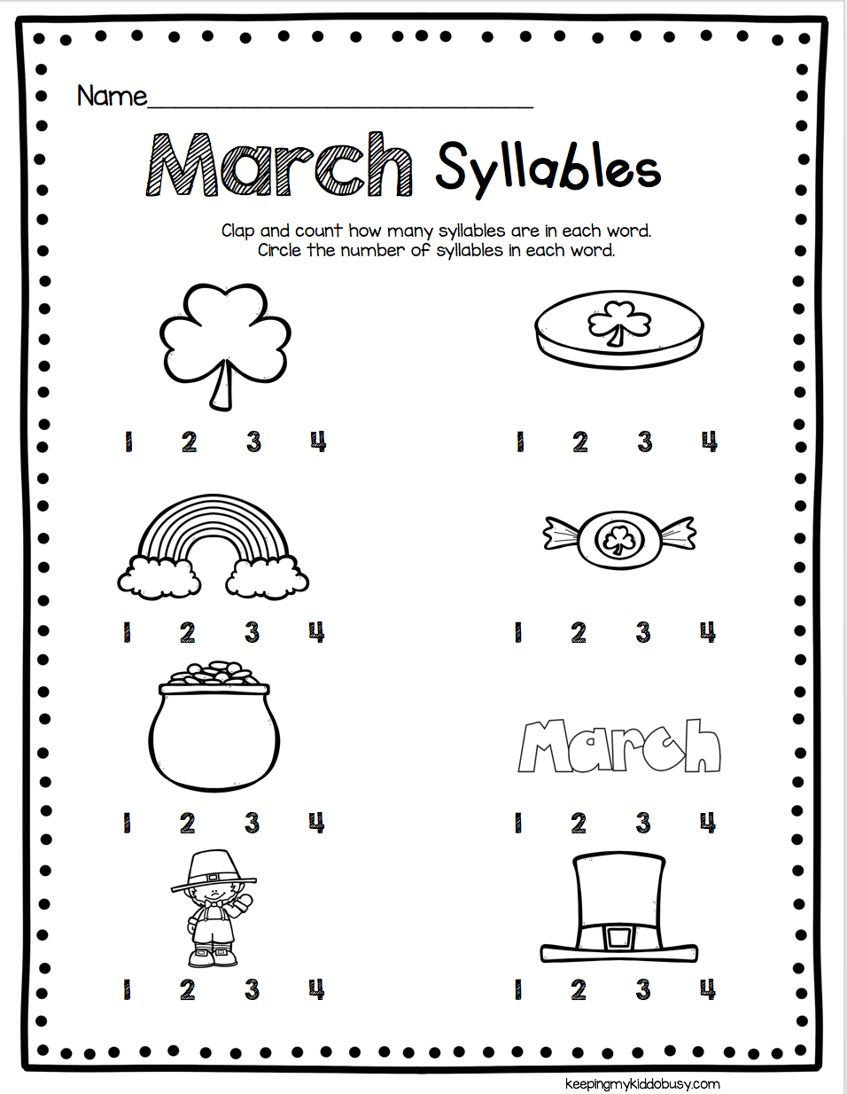 worksheet Syllable Worksheets For Kindergarten march math ela kindergarten pack no prep freebies syllables for worksheet