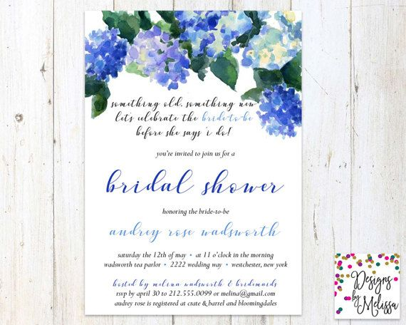 blue bridal shower invitation hydrangea bridal shower