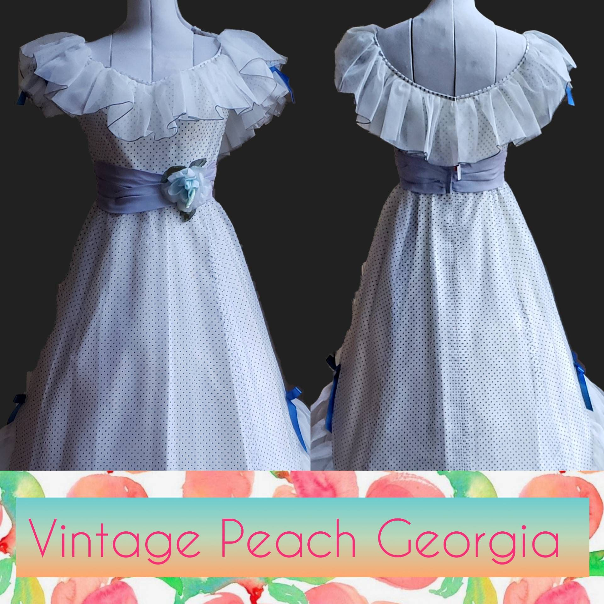 Vintage Prom Dress White With Blue Swiss Polka Dots Deadstock Nos By Vintagepeachgeorgia On Etsy Vintage Prom Prom Dresses Vintage Prom Dresses For Sale [ 1920 x 1920 Pixel ]