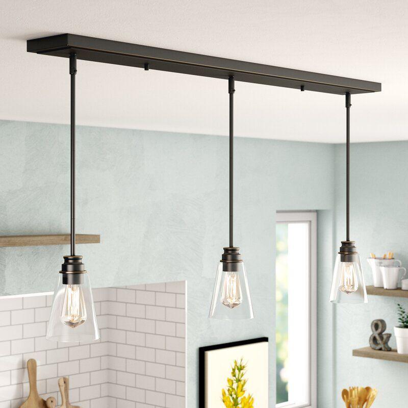 Clayton 3light kitchen island linear pendant in 2020