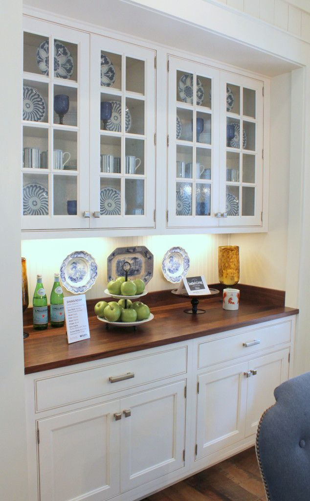 Southern living idea house breakfast area built in cabinet for Built in dining room cabinet designs