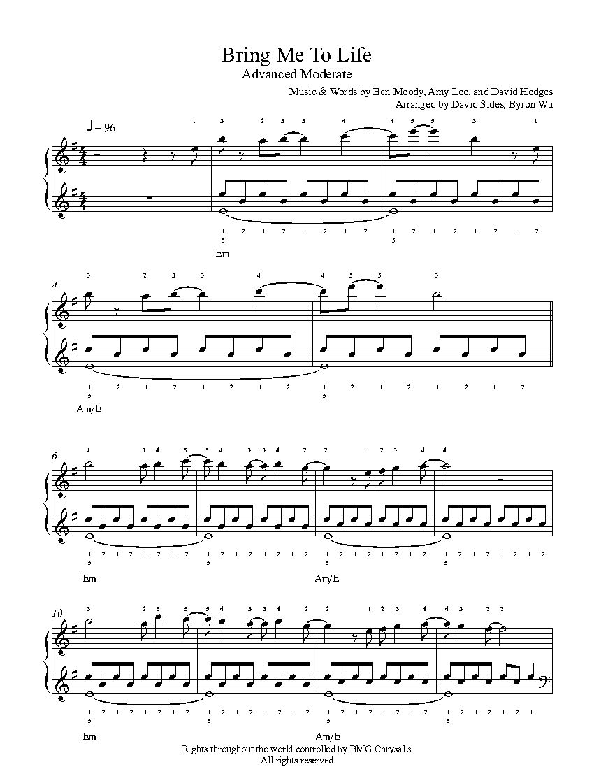 Bring Me To Life By Evanescence Piano Sheet Music Advanced Level
