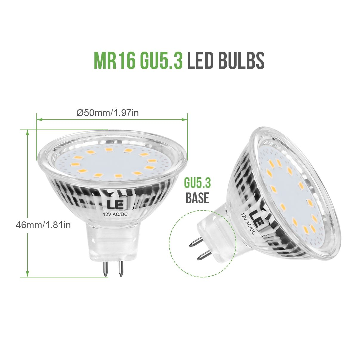 Le Mr16 Gu5 3 Led Light Bulbs Non Dimmable Clear Lens 12v Ac Dc 35w Halogen Equivalent 2700k Warm White 3 5w 330lm 12 With Images Led Light Bulbs Led Bulb Led Lights